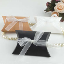 50pcs Laser Cut Hollow Lace Kraft Paper Pillow Gift Candy Boxes Favor Gifts Bags With Ribbon Wedding Birthday Party Supplies(China)