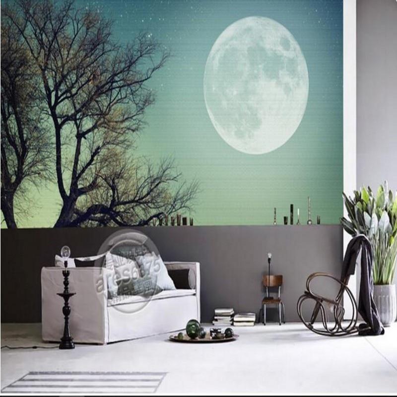 beibehang fresco high-end tree moon moon shock 3D TV backdrop non-woven fabric wallpaper papel de parede 3d para sala atacado