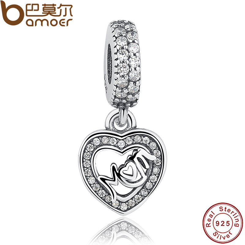 925 Sterling Silver Mum Silver Dangle With Cubic Zirconia