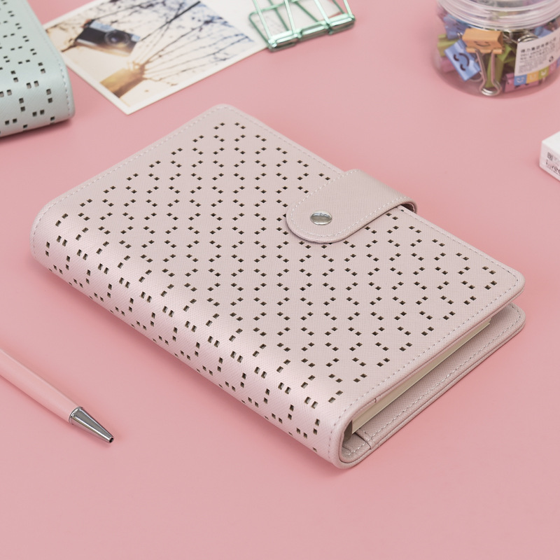 A6 Macaroon Leather Notebook Planner Kawaii School Notebook Stationery 6 Holes Spiral Ring Binder Notebook Diary Bullet Journal
