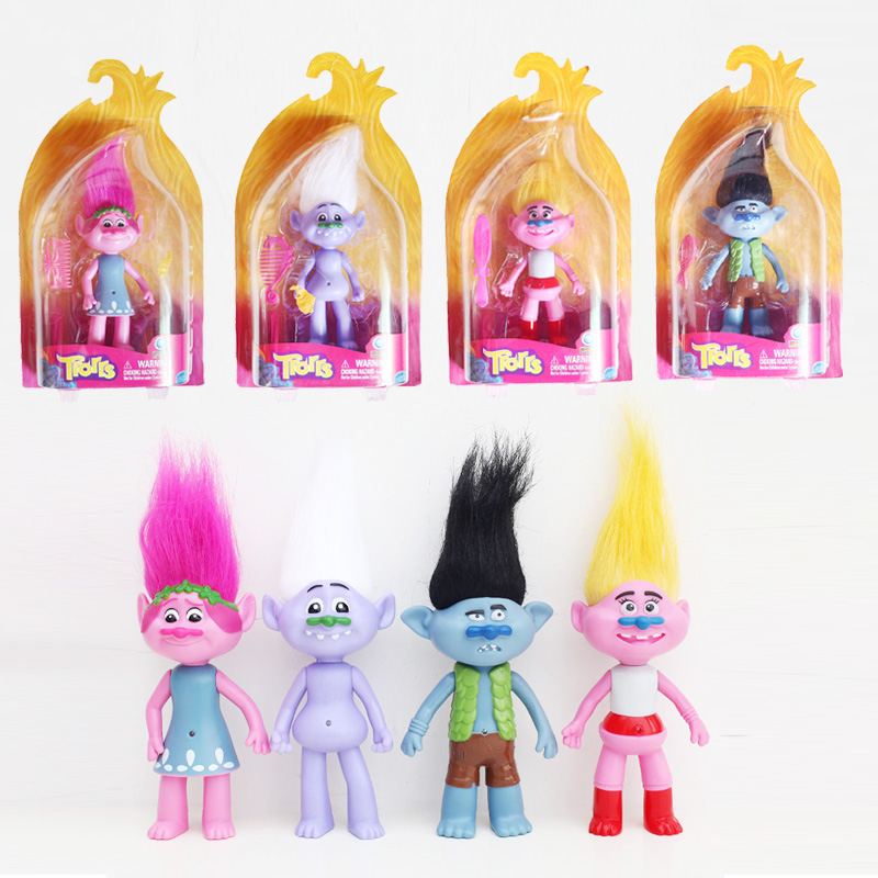 20CM New Movie Trolls Action Toys with Box Can Light Poppy Branch Critter Skitter PVC Figures Trolls Toys for Children
