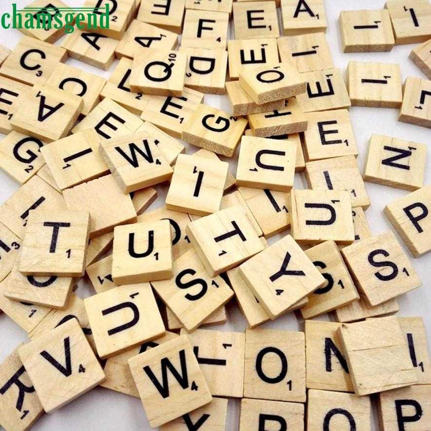 100 деревянный скрэббл плитки черные буквы и цифры для поделок деревянные алфавиты 2019 горячая Распродажа Новинка