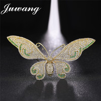 JUWANG Big Butterfly Brooches Pins for Women Shiny Full of Cubic Zirconia Crystal Broches Wedding Jewelry Gift Accessories