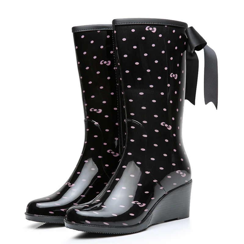 Fengnong yağmur çizmeleri tasarım orta buzağı botları öğrenci yağmur çizmeleri okul ayakkabısı kadın Riband kauçuk su geçirmez okul Botas W194