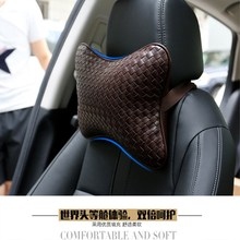 2 pieces / sets of car manual pure leather pillow breathable headrest neck seat safety styling products