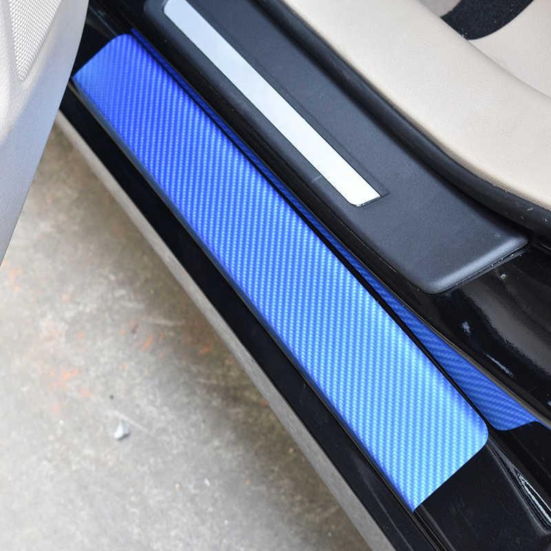 Накладки на пороги из углеродного волокна Набор наклеек против царапин Синий защитная ЗАЩИТА педали
