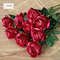5 stks/partij Roze kunstmatige rose bloem fluwelen real touch wedding decoratieve vaardigheid bloemen feestartikelen hoge kwaliteit