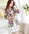 2015 spring new Korean Slim floral print suit jacket long sleeve female blazer flower ladies business suit M-XXXL 4colors D3248