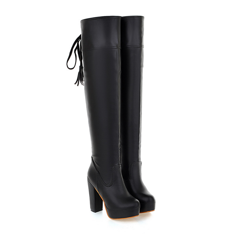 New Fashion Black Brown Women Over Knee Thigh High Motorcycle Boots Ladies Shoes AI115 Platform High Heels Plus Big size 10 43 brand new fashion black yellow women knee high cowboy motorcycle boots ladies shoes high heels a 16 zip plus big size 32 43 10