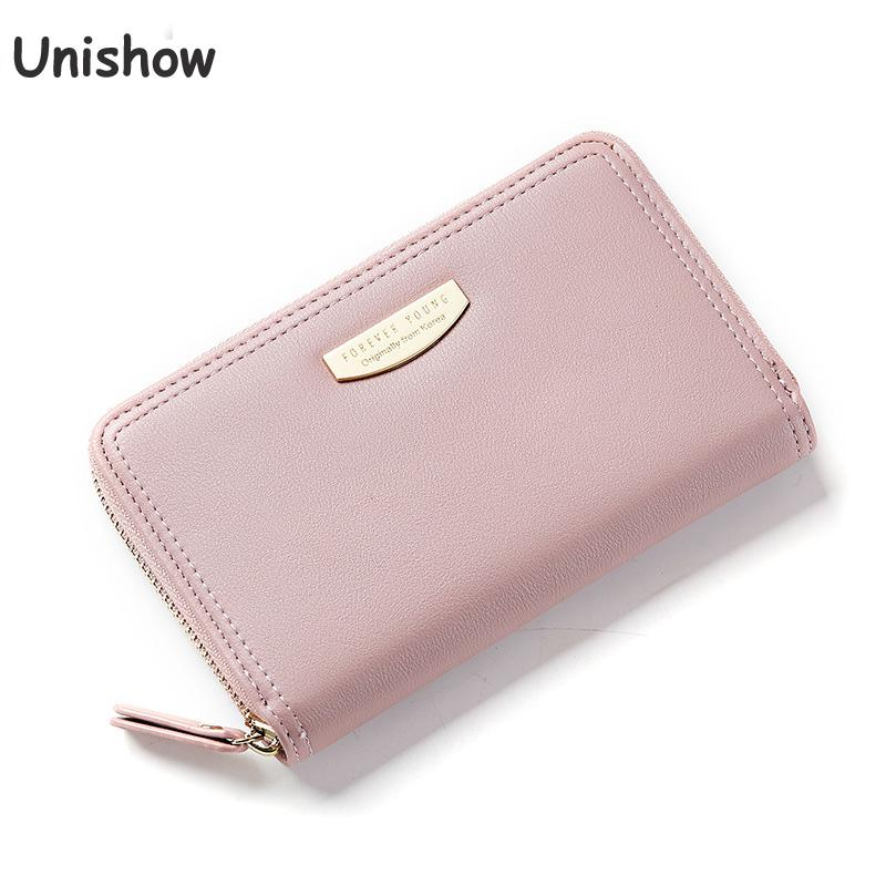 Unishow Brand Zipper Wallet Women Long Female Purse Soild Pu Leather Clutch Purse Card Holder Lady Pu Leather Coin Wallet Pocket bentoy brand women short wallet hologram pu moon embroidery pearl wallet female zipper clutch coin purse laser card holder bag