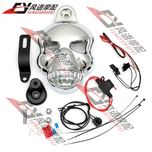 For Magna Steed Shadow Dragstar Vulcan Cruise car carburetor cover Prince Skull with Lamp