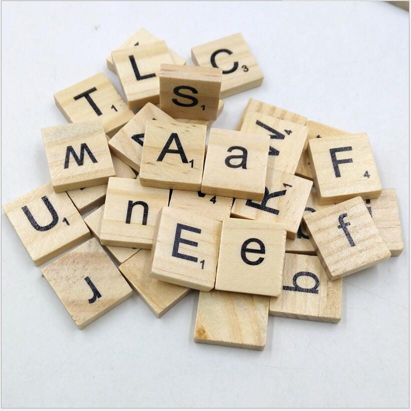 100pcs/set Wooden Puzzle Box Alphabet Scrabble Tiles Letters Jigsaw puzzle squares For C ...