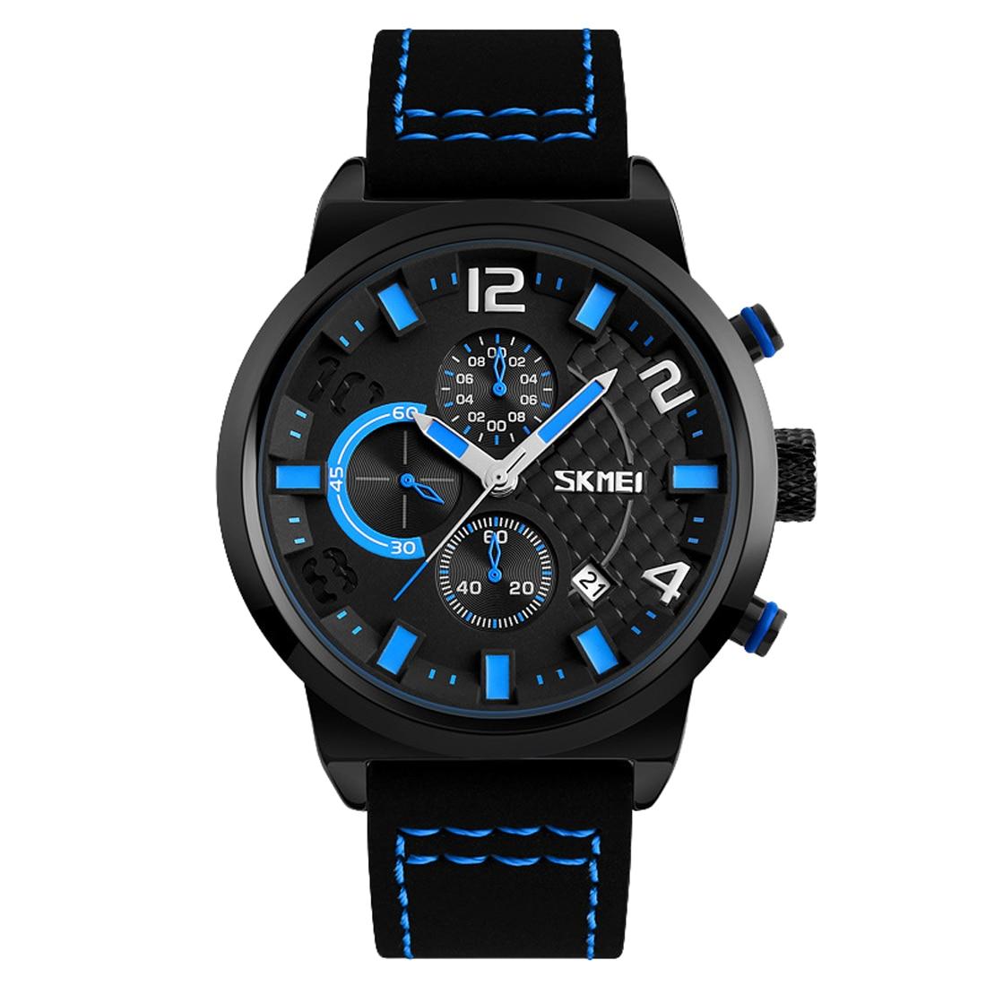 2018 mens luxury watches top brand Quartz Watch retro blue Big Dial WristWatch new calendar sport clock casual business watches