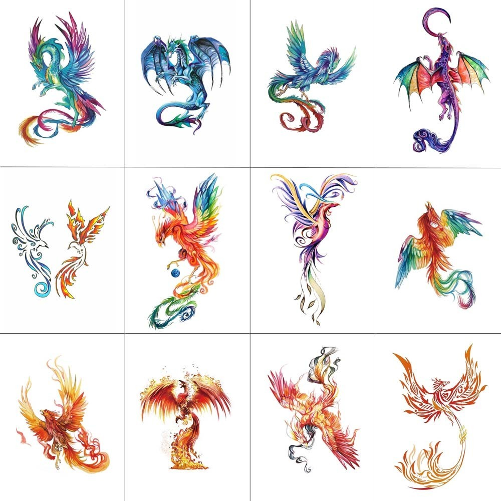 HXMAN 12 PCS Phoenix Temporary Tattoo Sticker For Women Men Body Art Adults Waterproof Hand Fake Tatoo 9.8X6cm W12-25