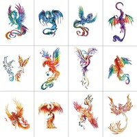 HXMAN 12 sztuk Phoenix tymczasowa naklejka tatuaż dla kobiet mężczyzn tatuaże do ciała dorosłych wodoodporna ręcznie sztuczny tatuaż 9.8X6cm W12-25