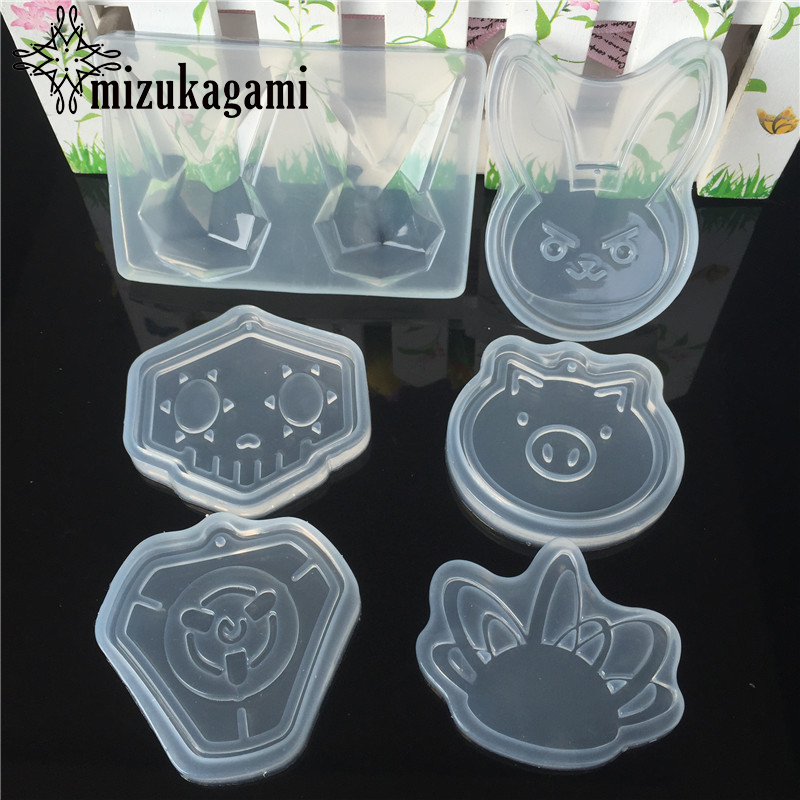 1pcs Handmade Pendant Animal Pig Rabbit Rectangle Resin Charms Molds For DIY Intersperse Decorate Making Jewelry Molds