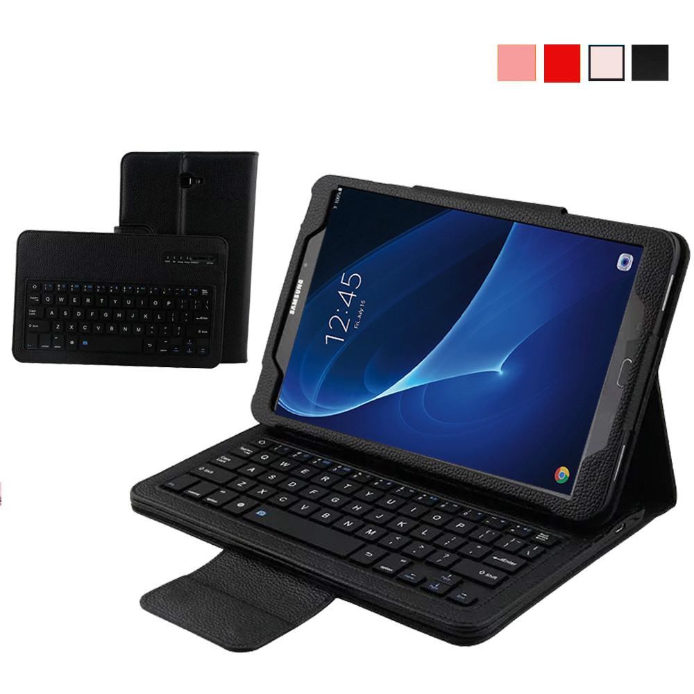 ФОТО Removable Wireless Bluetooth Keyboard Case for Samsung Galaxy Tab A 10.1 inch T580 PU Leather Smart Folio Cover + ABS Keypad