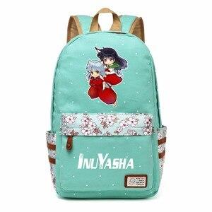 Image 3 - WISHOT אנימה אינויאשה פרח שקית בד תלמיד נשים בנות תרמיל ילדי ילקוטי ילדי תיק כתף נסיעות
