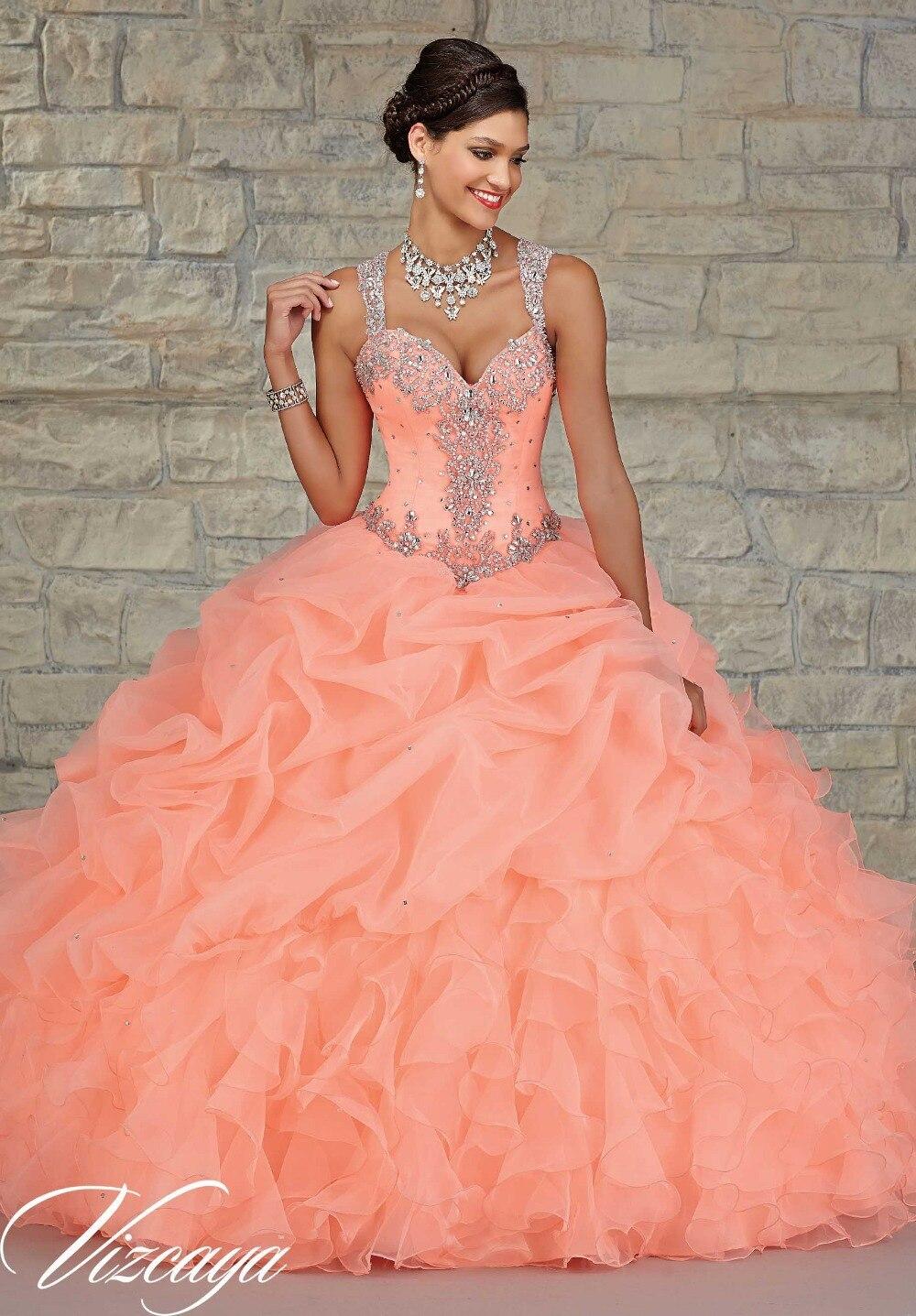 5bc695c86 En stock barato nueva coral vestidos de quinceañera 2015 con cuentas de  organza con volantes correas sede aunque volver balón vestido de verde  menta en ...