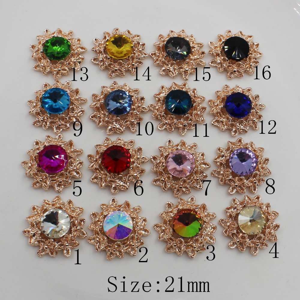 10Pcs 21mm DIY Flatback Rainbow Crystal Rhinestone Wedding Buttons Embellishment