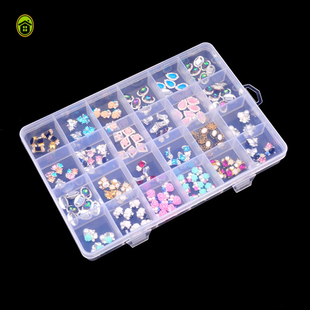 Home Organizer Storage Box Plastic 24 Slots Adjustable Jewelry Storage Box Case Craft Organizer Beads High Quality Case