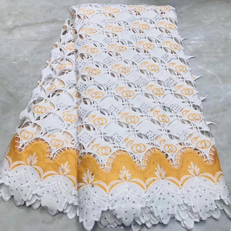 White 2019 Hot selling african lace fabric high quality stones african lace fabric for Bridal Embroidery