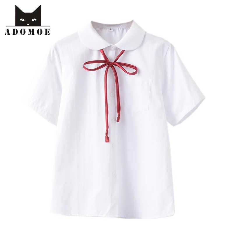 4b65e1b667651a White Cotton Japanese Student Girls School Uniform White color Shirt Teens short  sleeve Red ribbon tie