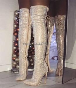 Image 4 - Женские ботфорты с острым носком, на тонком каблуке, украшенные стразами