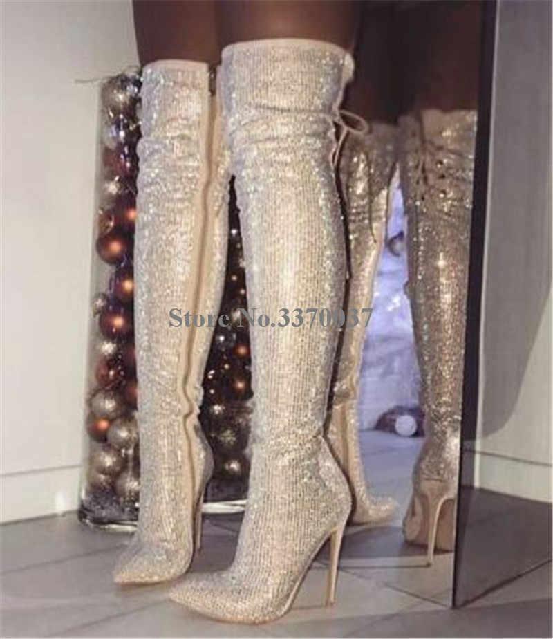 ผู้หญิงหรูหรา Rhinestone ชี้ Toe กว่าเข่าบางส้นรองเท้า Bling Bling คริสตัล Slim ยาวส้นสูงรองเท้าแต่งงานรองเท้า