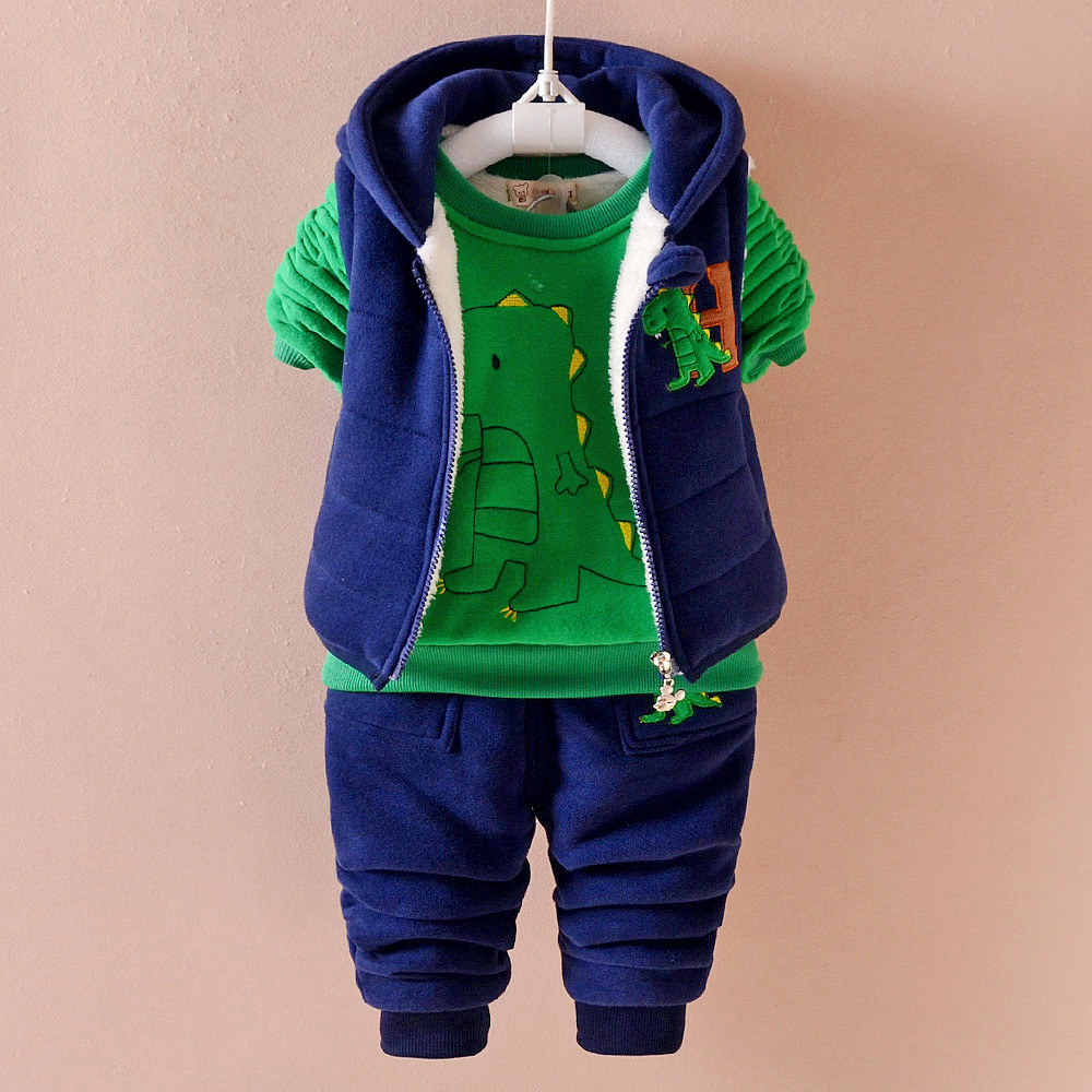 Winter thick Keep warm kids baby clothes sets fashion cotton Dinosaur boy girl Plus thick velvet three-pieces children clothing 4t 14t children s clothing pants leggings warm three layers plus plush thickening cotton baby girl clothes winter children
