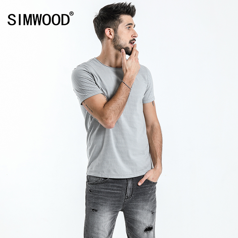 9cc3719ddd8 SIMWOOD Brand Tops 2018 Spring Summer Short Sleeve T Shirts Men Striped  O-neck Fashion Tees Slim Plus Size Free Shipping 180193