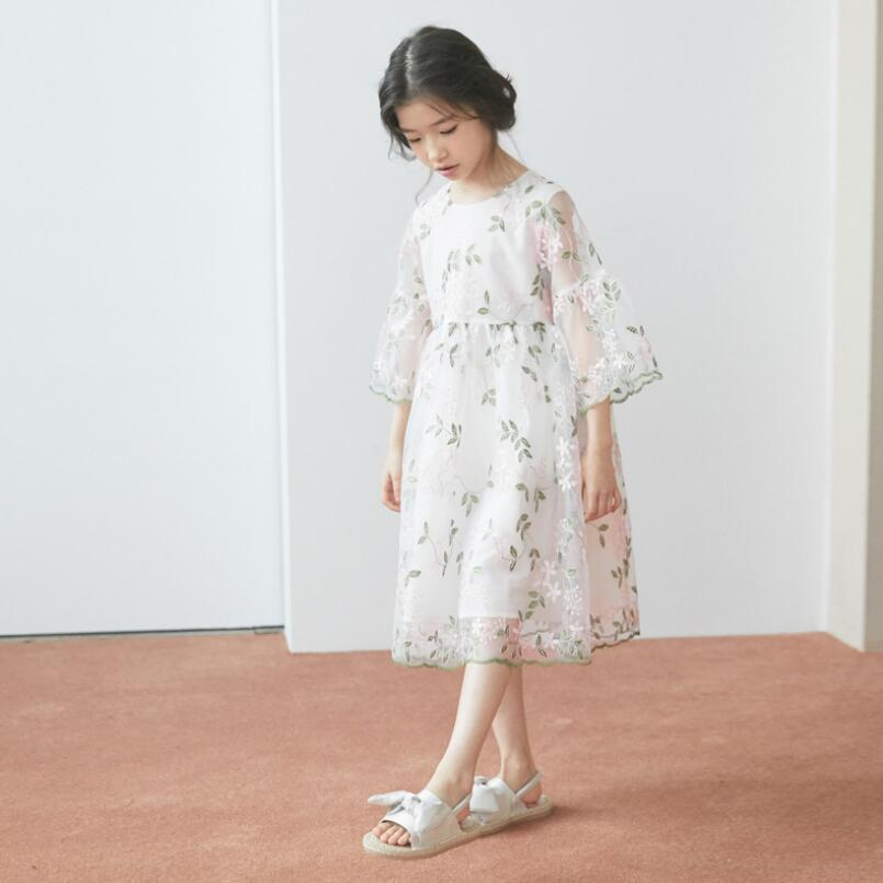 15 Floral Embroidered Bridal Dresses For A Summer Wedding: Floral Embroidery Girl Summer Dress Toddler Teen Child