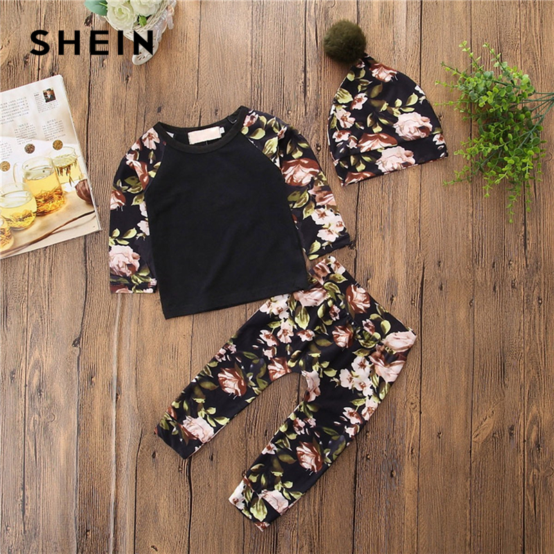 SHEIN Kiddie Toddler Girls Floral Print Top And Pants With Hat Children Suit Sets 2019 Spring Raglan Sleeve Kids Clothes Set figure print zip up raglan sleeve jacket