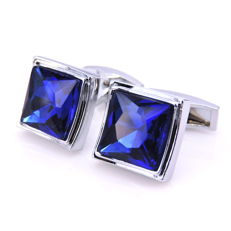 C-MAN Luxury Blue Crystal shirt cufflink for mens Brand cuff buttons cuff links High Quality Silver abotoaduras Jewelry