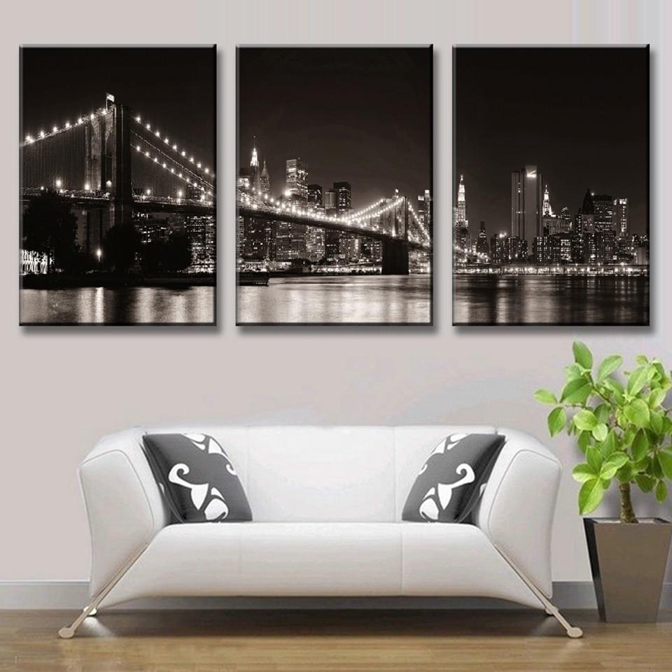 Leinwand Wandkunst Bilder Modernen Rahmen Wohnzimmer Decor 3 Stücke  Brooklyn Bridge HD Gedruckt Stadt Nacht Landschaft Poster Malerei   WLOG.ME