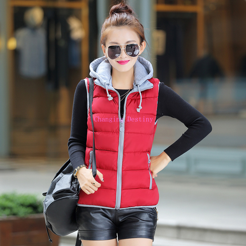 Jackets & Coats Winter Candy Color Thicken Warm Vest Large Size Womens Hooded Feather Cotton Removable Cap Cardigan Sleeveless Do You Want To Buy Some Chinese Native Produce? Apprehensive M-xxxl Ms
