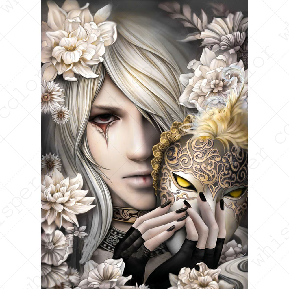 Diamond Painting Full Square/Round Daimond PaintingMask Fantasy Characters FlowerMosaic Rhinestone Embroidery Painting LE01461