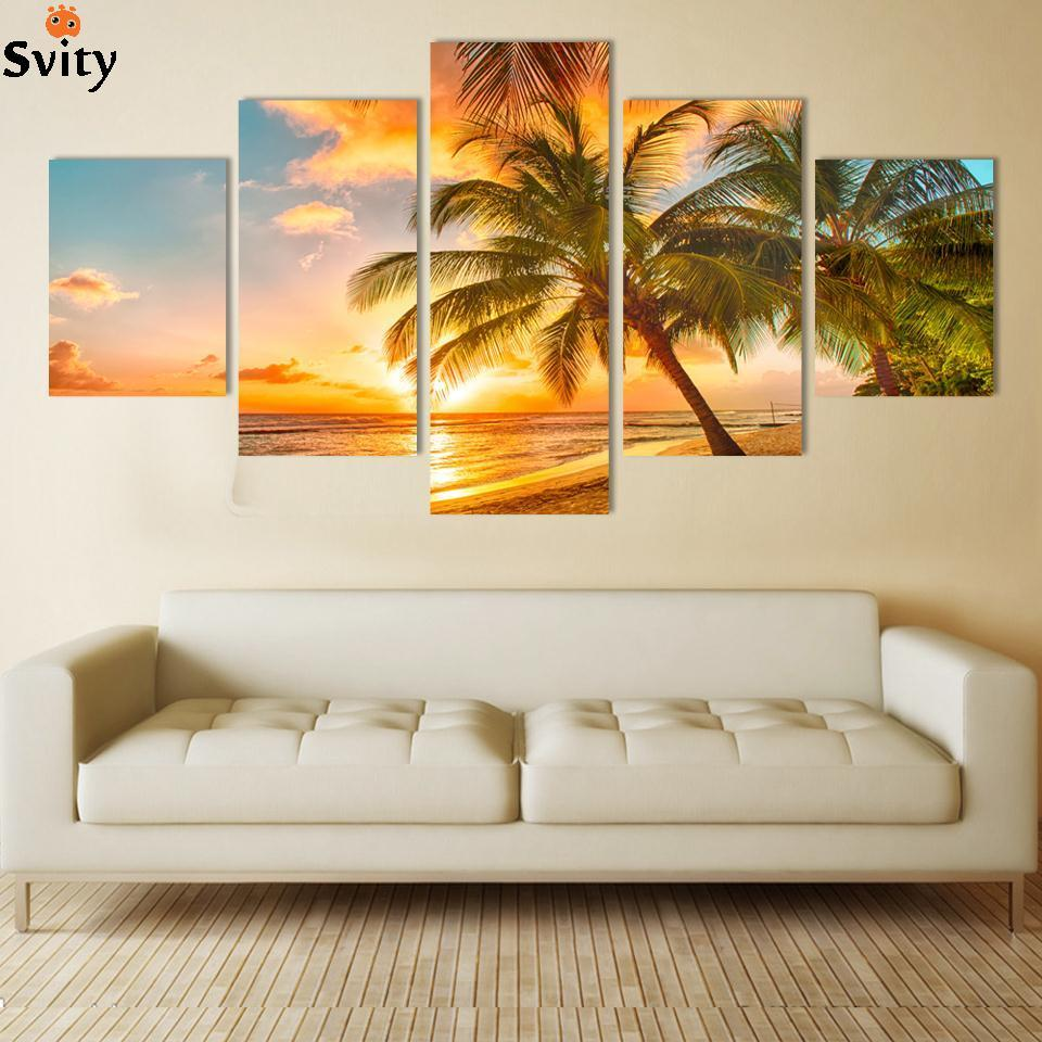 Modern Wall Art Home Decoration Printed Oil Painting Pictures No Frame Canvas Prints 5 Piece Coconut Palm Beach Scenery no frame canvas