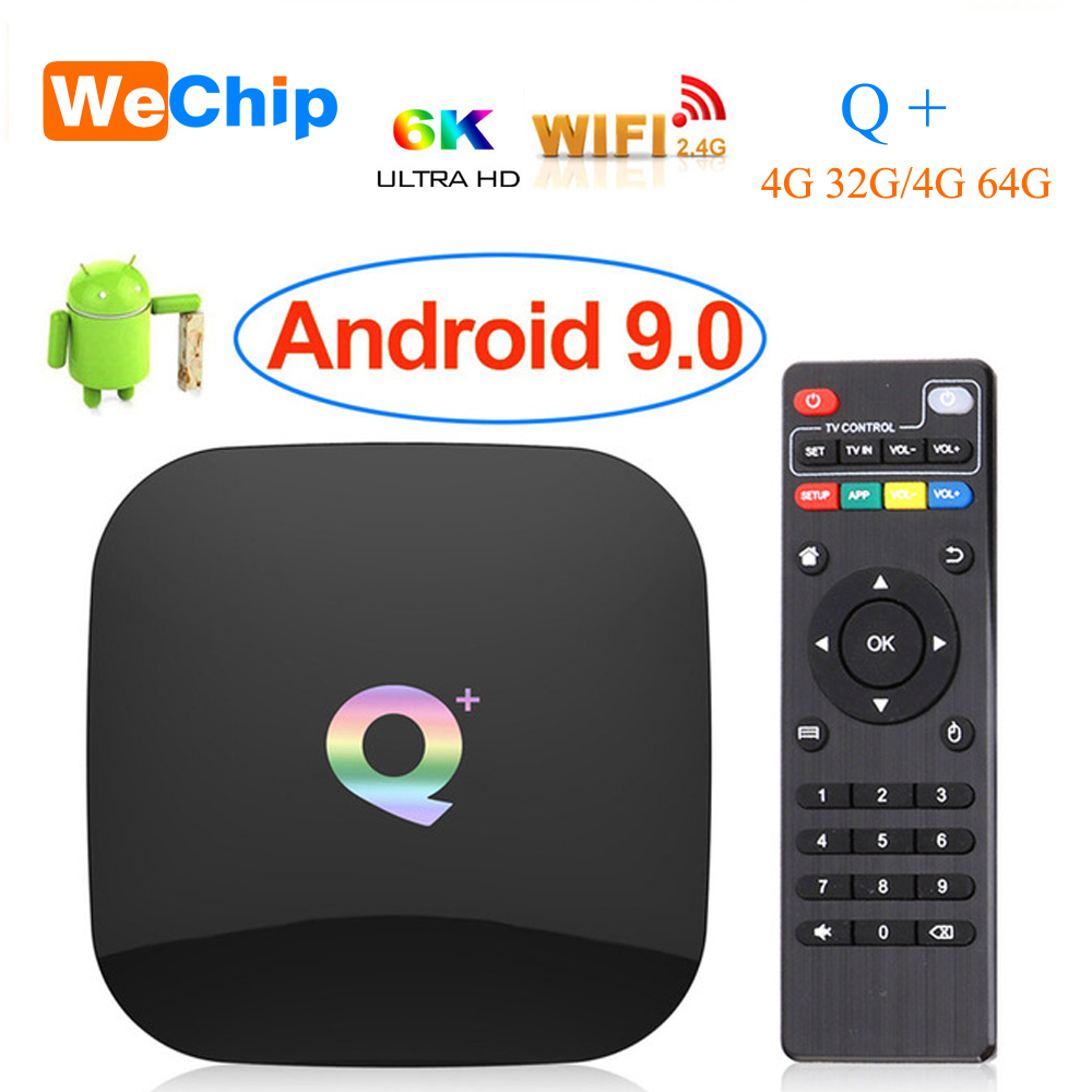 Android 9,0 TV Box Q plus 4GB 64GB Allwinner H6 4GB 32GB 1080P H.265 6K HD reproductor multimedia 2,4G Wifi inalámbrico Q + Set Top Box PK TX6 XGODY P30 3G Smartphone 6