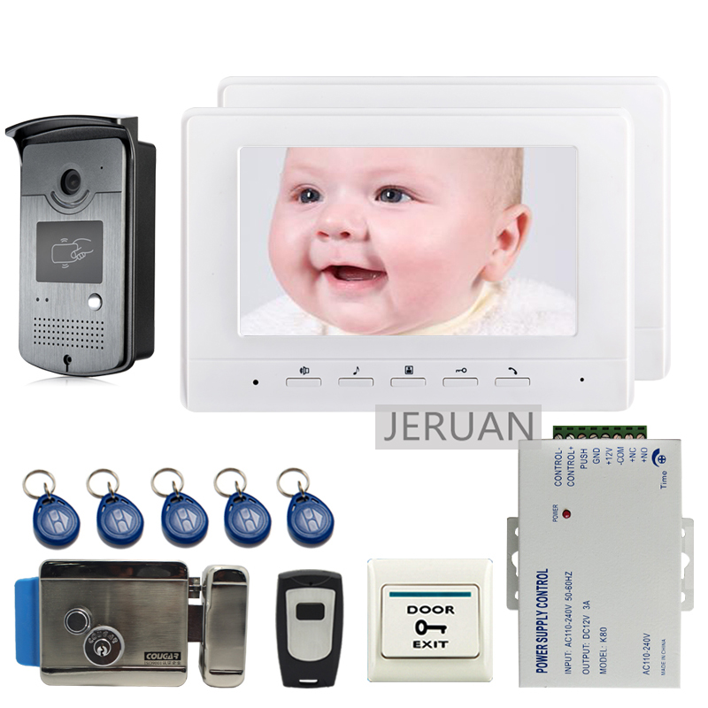 FREE SHIPPING 7 Screen Video Intercom Door Phone System + 2 White Monitor + Outdoor RFID Access Doorbell Camera + Electric Lock free shipping 7 screen video door phone intercom system fingerprint code keypad unlock door camera electric mechanical lock