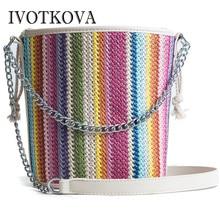 3f946d40c203 IVOTKOVA Bucket Women Handbags Fashion Straw Lady Cross Body Bags New 2018  Female Tote Purses Bolsa Feminina Summer Beach Bags