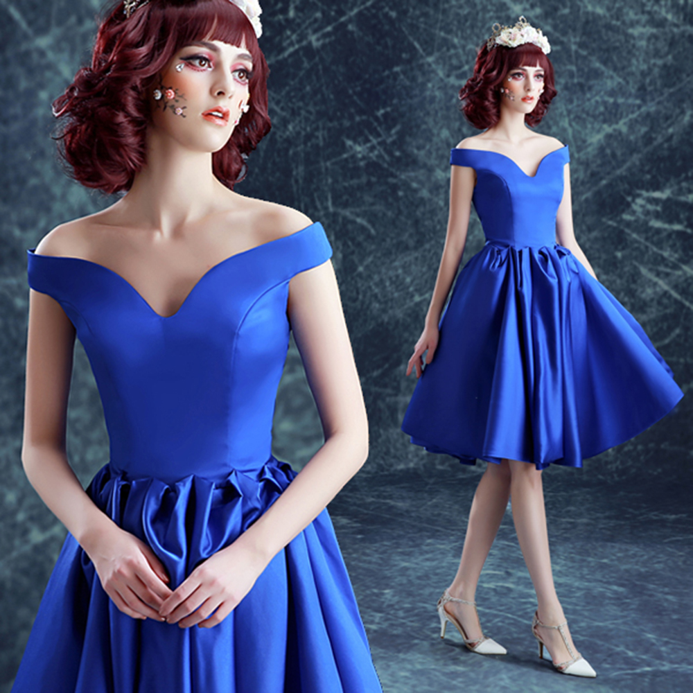 Tea Length Royal Blue Cocktail Dress