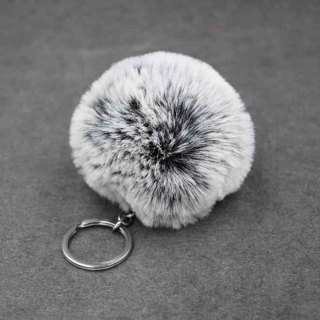 Qualidade de couro Grande Keychain 8 CM faux Fur Pom pom pom Pom KeyChain Saco Bulbo Capilar Bola De Pêlo de coelho Pingente anel chave bonito para as mulheres