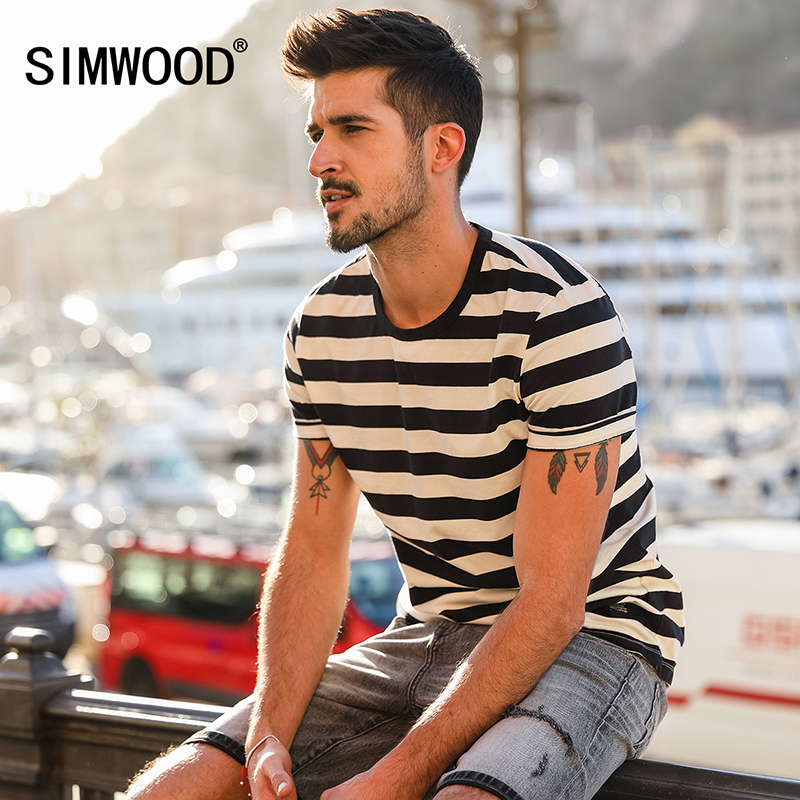 Simwood 2019 New Summer   T  -  shirt   Men Fashion Striped   T     Shirt   O-neck Men's Top Tees Cotton Short Sleeve Brand Clothing 180187