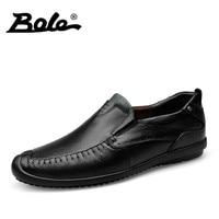 BOLE New Design Superstar Slip On Men Leather Shoes Fashion Walking Durable Men Loafers Handmade Genuine