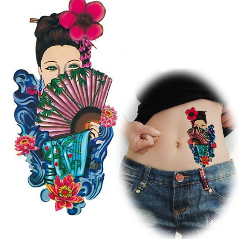 chinese ancient costume women tattoo design flower tattoos women hold folding fan cover the half. Black Bedroom Furniture Sets. Home Design Ideas