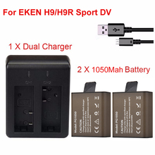 2x 1050Mah Sport Action Camera Battery For EKEN H9 H9R H3 H3R H8PRO H8R H8 pro SJCAM SJ4000 SJ5000 DV Spare battery+Dual Charger