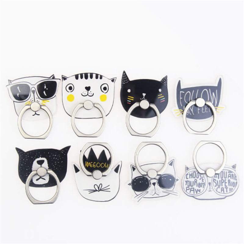UVR Animal Cat Mobile Phone Stand Holder Finger Ring Smartphone Cool Cat Holder Stand For Iphone Xiaomi Huawei All Phone