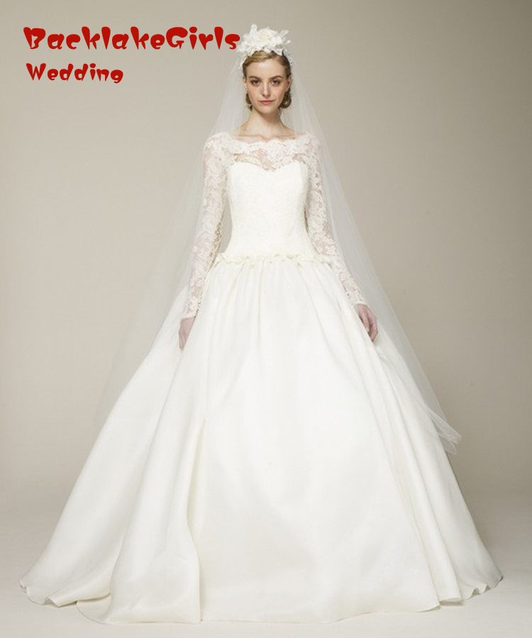 winter designer boat neck long sleeve top ivory wedding gowns 2016 with lace skirt bridal dress