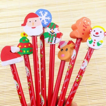 10pcs/lot Merry Christmas Series HB Wooden Pencil With Eraser 10 Red Gifts Office School Supplies